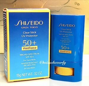 SHISEIDO Clear Stick SPF 50+ UV Protector WetForce Sunscreen for Face & Body 15g