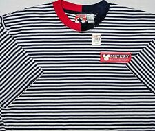 Vintage Disney Mickey Mouse Sailing Gear Shirt Blue Striped 1990s Large L ~ New