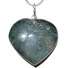 """CHARGED Moss Agate Crystal Heart Perfect Pendant™ + 20"""" Chain"""
