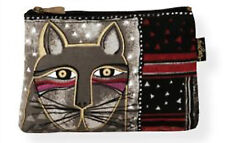 Laurel Burch Brown/Gray Whiskered Cats Cosmetic Bag