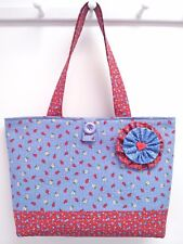 "NEW - Red White & ""Ladybug Blue"" - Large Calico Beach Bag Market Tote Hand Purse"