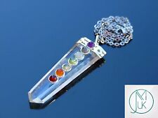 Clear Quartz 7 Chakra Flat Natural Gemstone Pendant Necklace 50cm Healing Stone