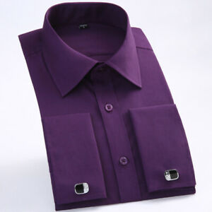 Men's French Cuff Shirts Long Sleeves Business Casual Formal Slim Dress Shirts