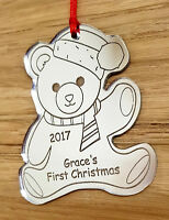 PERSONALISED BABY'S FIRST CHRISTMAS TREE TEDDY DECORATION BAUBLE GIFT SILVER