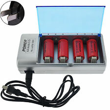 4x C Size 10000mAh 1.2V Red Rechargeable Battery Cell + AA AAA 9V C D Charger