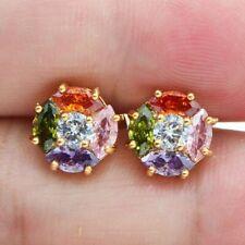 Mystic Rainbow Topaz 18kYellow Gold Stud Earrings Wedding Jewelry Christmas Gift