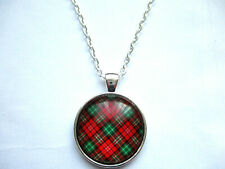 RED/GREEN TARTAN PLAID CABOCHON GLASS PENDANT NECKLACE 27MM