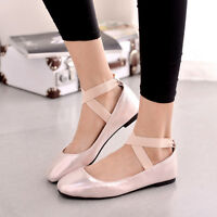 Ladies light blue/pink flat Mary Janes cross strap ankle pumps shoes size 35-43-