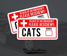 x2 Cat Pet Emergency Rescue Sticker Decal - Fire safety First Responder 5""