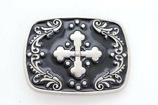 New Men Women Silver Metal Belt Buckle Western Fashion Religious Filigree Cross