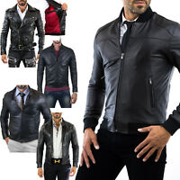 Giacca Giubbotto Uomo in di PELLE 100% Men Leather Jacket Veste Homme Cuir MixI