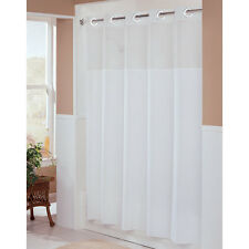 "Hookless White Shower Curtain 71"" X 77"" W/ Chrome Raised Rings  HBH49MYS01SL74"