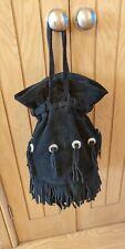 Vintage Black Suede  Drawstring Bucket Hand Bag Velvet Lining . Fringe.Medium