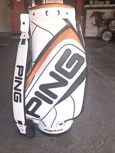 """Rare PING White / Black / Orange Tour Staff Golf Bag 9/10"""" Top"""