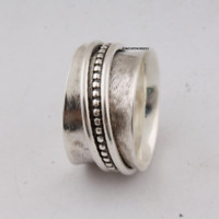 Solid 925 Sterling Silver Spinner Ring Meditation Ring Statement Ring Size TR109