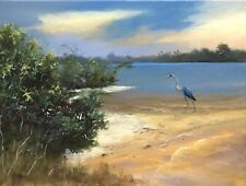 Florida Lagoon River Wildlife Landscape Painting - Original By  Karim Gebahi