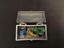 "3 Vintage Tiny Metal Cars in Plastic Box Miniature 1"""