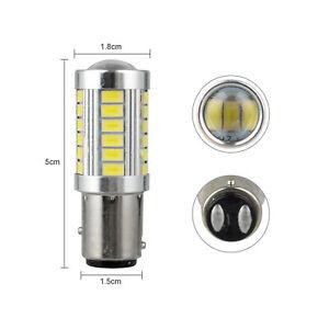 2Pcs 1157 33SMD White LED Tail Brake Stop Back Reverse Turn Signal Light Bulbs