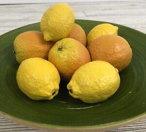 Realistic Ceramic Lemons & Oranges Fake Fruit /b