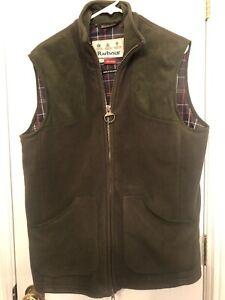 EUC Barbour OLIVE Dunmoor Northumberland Sporting Gilet Full Zip Vest Men's M