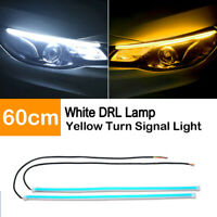 60CM White DRL Turn Signal Light Strip Amber Sequential Switchback LED Tube Lamp