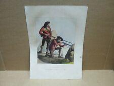 PYRENEES ancienne gravure couleur Chasseurs d'Izards Pic du Midi de Pau