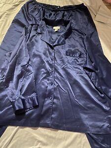 Cabernet Sleepwear Satin Pajama Set 2 Piece Long Sleeve, Pants Navy XL