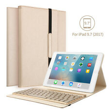 New iPad 9.7 2017 Leather Magnetic Smart Case Cover &Backlits Bluetooth Keyboard
