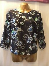 LADIES NwoT New Look 10 NAVY BLUE CHIFFON/MULTI FLORALS/MID-SLEEVED/CASUAL TOP