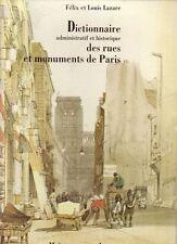DICTIONNAIRE ADMINISTRATIF ET HISTORIQUE DES RUES ET MONUMENTS DE PARIS Lazare