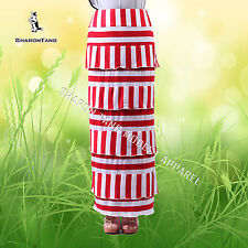 SHARON TANG Modest Apparel Long Red White Strip Stretch Knit Layer Maxi Skirt M