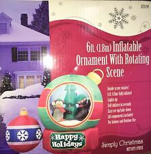 NIB 6' Gemmy Airblown Inflatable Christmas Ornaments Penguin Rotating Scene