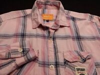 SuperDry Womens XL Long Sleeve Button-Down Pink Plaid Check Flannel Shirt