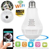 Wireless HD 1080P Security Spy IP Camera Hidden 360° Panoramic Bulb Infrared