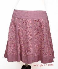 L160/07 Fat Face Para Mujeres Algodón A-Line floral falda púrpura Skate, Talla 12