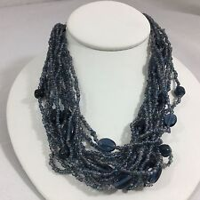 "Fashion Necklace 19"" Choker Blue Beads Costume Jewelry Layer Cords Mothers Day"