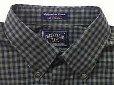 Men's Faconnable Jeans Navy & Olive Shirt Size XXL 2XL Long Sleeve Button Front