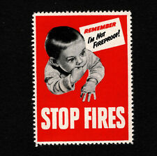 "Opc Vintage Stop Fires ""Remember I'm not Fireproof"" Poster Stamp Mnh"