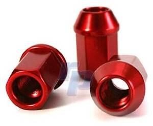 4 Stück Alu-Radmuttern, M12 x 1.5 mm,  rot eloxiert, Kegelbund, raceparts cc
