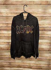AC/DC Mens Gray Black Pullover Hoodie Sweatshirt Logo Band Rock and Roll Concert