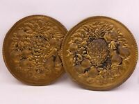 "Two Fruit Platter 11"" Brass Round Plates Plaque Pineapple Grapes Wall Art Decor"
