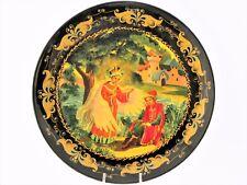 Assiette décorative murale D 22 conte de Pouchkine bois peint main laqué Russie