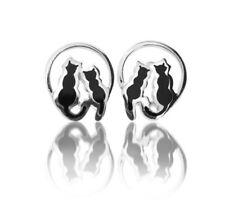 925 Sterling Silver 'Cats On Moon' Stud Earrings With Gift Box (3664)
