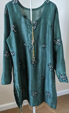 Pakistani Indian Silk Chiffon 3 Piece Suit Shalwar Kameez Dark Forest Green