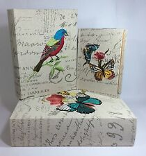 French Butterfly Decorative Secret Storage Book Boxes Set Of 3 Wooden Fabric New
