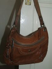 fossil tan leather satchel shoulder bag good used condition