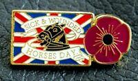 Purple POPPY pin badge Union Jack Horses Day UK 2021 St George