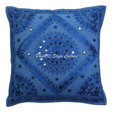 Handmade Embroidered Pillow Case Cover Indian Mirror Cotton Cushion Cover 16""