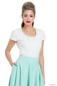 Voodoo Vixen Womens Daisy Trim Short Sleeve Tops T Shirt Blouse Vintage Style