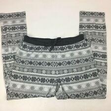 Eddie Bauer Men's Pajama Pants L Lounge Sleep Drawstring Gray White Snowflake